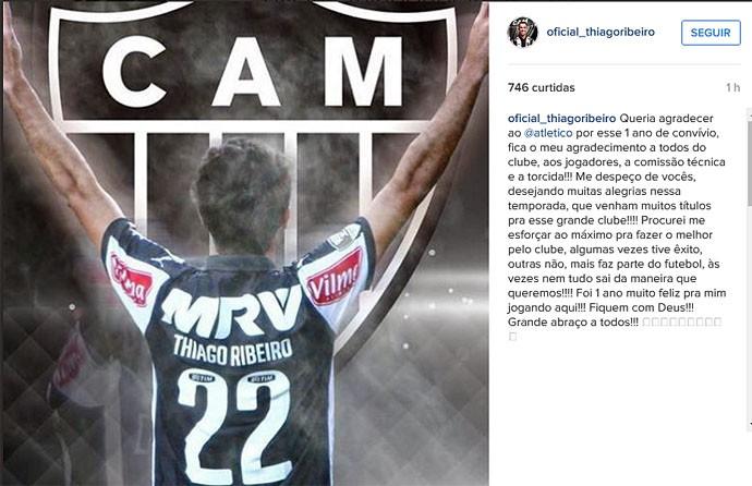 Thiago Ribeiro se despede do Atlético-MG (Foto: Reprodução/Instagram)