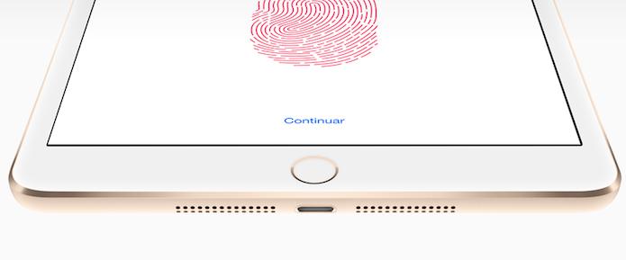 TouchID, que surgiu no iPhone 5S, é a novidade no iPad mini 3. (Reprodução/Apple)