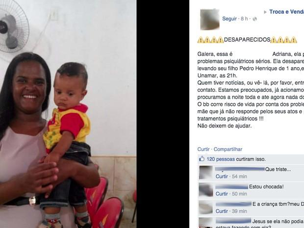 Familiares realizavam buscas pela mulher, que havia sumido com o bebê (Foto: Reproducão/ Facebook)