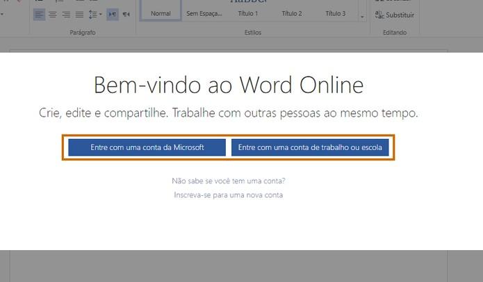 Escolha o tipo de conta Microsoft para login (Foto: Reprodução/Barbara Mannara)