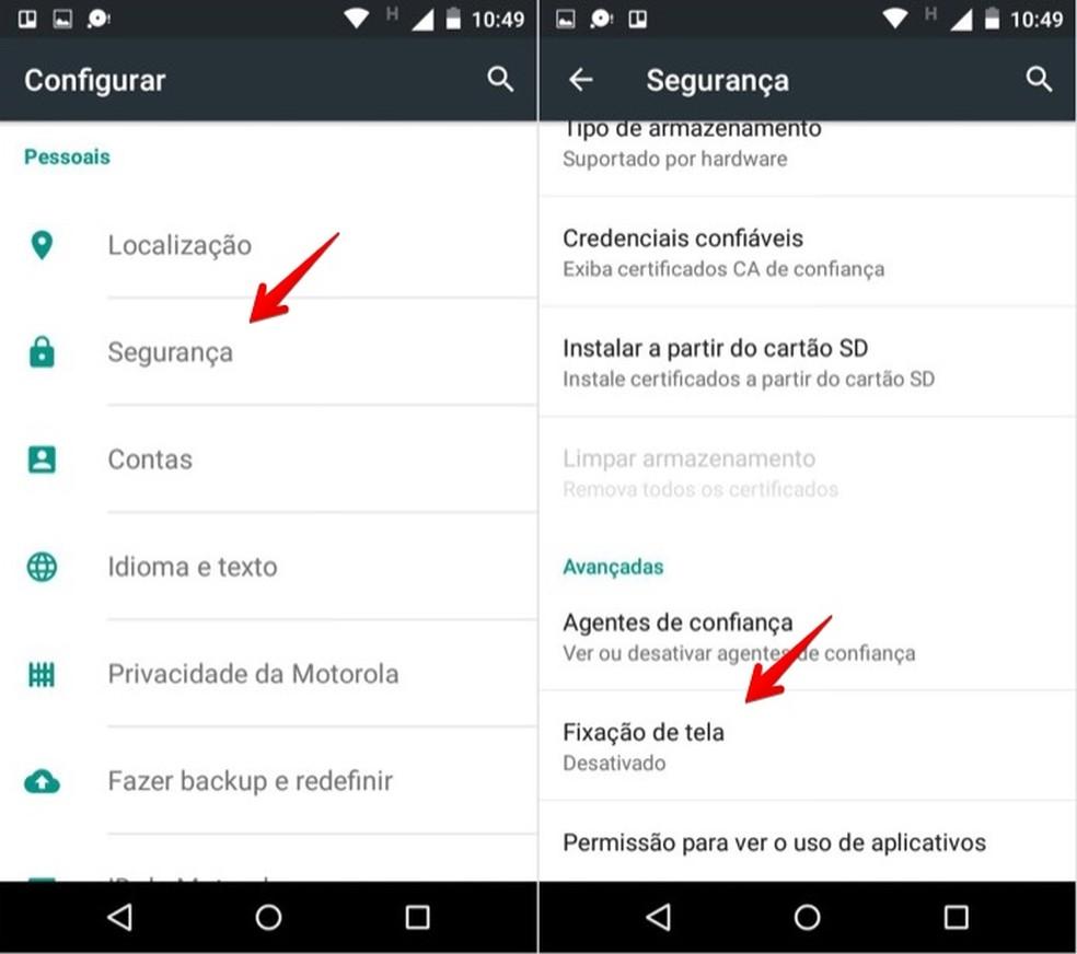 Acesse as configurações de segurança no Android (Foto: Reprodução/Helito Bijora)