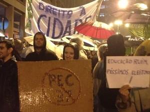 Manifestantes protestam em Porto Alegre (Foto: Felipe Truda/G1)