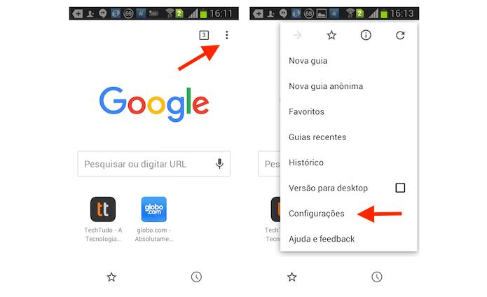 Acessando as configurações do Chrome no Android (Foto: Reprodução/Marvin Costa)