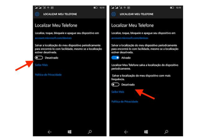 Ativando as opções de localização por GPS do Windows 10 Mobile (Foto: Reprodução/Marvin Costa)