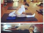 Gracyanne Barbosa mostra elasticidade durante alongamento
