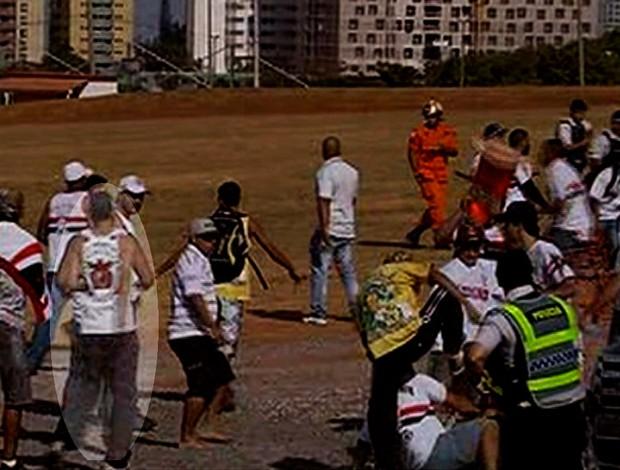 b63848dead Torcedor com camisa de organizada do Flamengo é flagrado em confusão (Foto   Reprodução SporTV Homem ...
