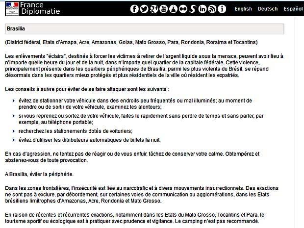 Reprodução do site do Ministério das Relações Exteriores da França, que alerta sobre risco de sequestro-relâmpago em Brasília (Foto: Reprodução)