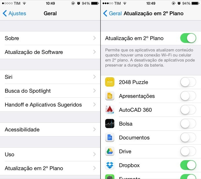 Desative as tarefas em segundo plano para os apps que não são importantes (Foto: Reprodução/Helito Bijora)