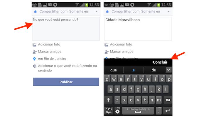 Definindo uma postagem com localização no Facebook Lite para Android (Foto: Reprodução/Marvin Costa)