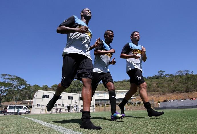 Airton, Cidinho e Elvis treino Botafogo (Foto: Vitor Silva / SSPress)