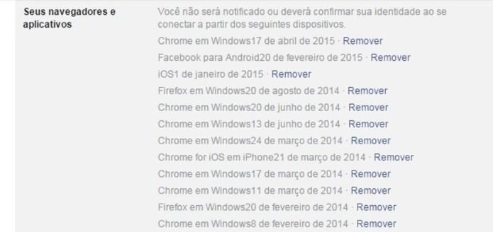 Veja lista de navegadores salvos em seu Facebook (Foto: Reprodução / Laura Martins)