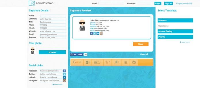 NewOldStamp tem modelos de assinaturas de e-mails para profissionais e pessoais (Foto: Reprodução/Barbara Mannara)