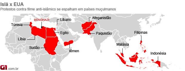 mapa protestos anti-EUA 17/09 (Foto: Editoria de Arte / G1)