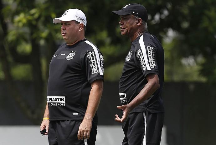 Marcelo Fernandes e Serginho Chulapa em treino do Santos (Foto: Ricardo Saibun / Divulgação SantosFC)