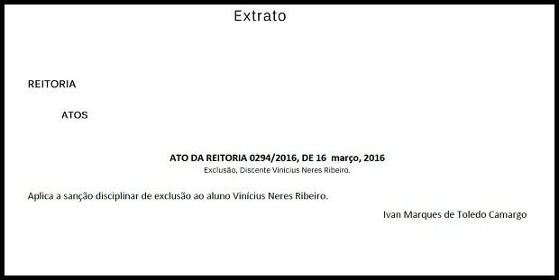 Trecho de boletim da UnB que trata sobre expulsão de suspeito de matar a ex dentro da instituição (Foto: Reprodução)