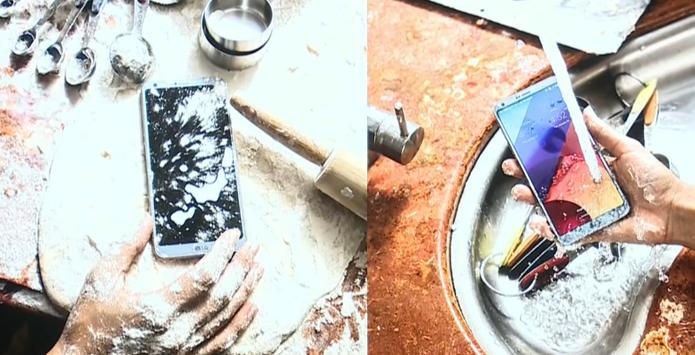 A utilização do LG G6 se torna menos restrita com a resistência a água e poeira. (Foto: Reprodução/LG)
