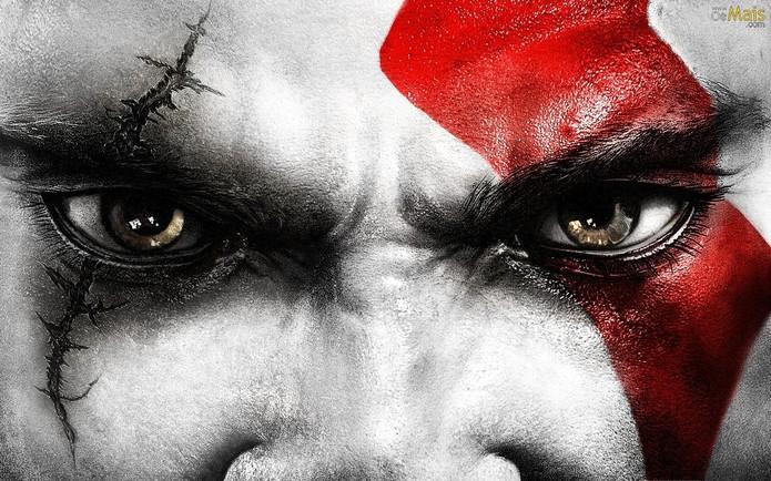 Rosto de Kratos tem marcas de batalha e homenagem ao irmão (Foto: Divulgação)