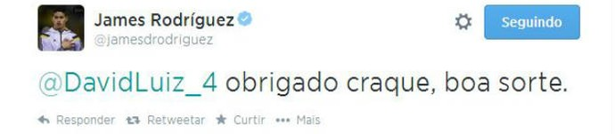 James agradece rapidamente a David Luiz (Foto: Reprodução)
