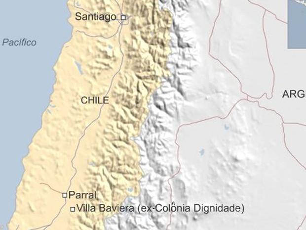 Sociedade Beneficente e Educacional Dignidade, criada perto de Parral, a 350 km ao sul de Santiago (Foto: BBC)