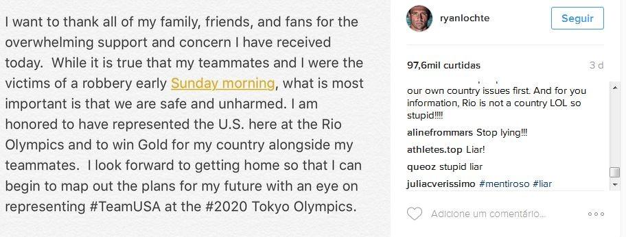 Ryan Lochte está sendo muito criticado nas redes sociais (Foto: Instagram/Reprodução)