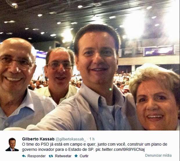 Kassab posta 'selfie' no Twitter com cúpula do PSD (Foto: Reprodução/Twitter)