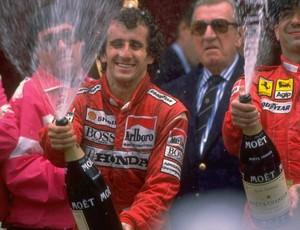 O francês Alain Prost no pódio do GP de Mônaco em 1988 (Foto: Getty Images)