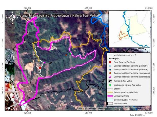 Mapa mostra delimitação da área para o tombamento do Conjunto Paisagístico, Arqueológico e Natural Fazenda Velha (Foto: Reprodução/ Laudo Técnico)