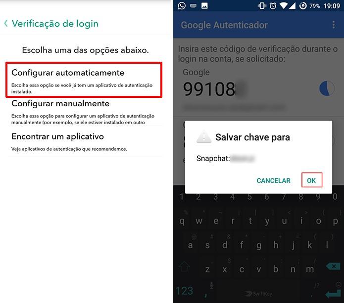 Adicione chave do Snapchat ao Google Authenticator para poder usar os códigos do app (Foto: Reprodução/Elson de Souza)