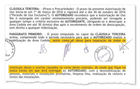 O contrato de cessão do Maracanã ao Comitê Organizador dos Jogos Olímpicos Rio-2016 (Foto: Reprodução)