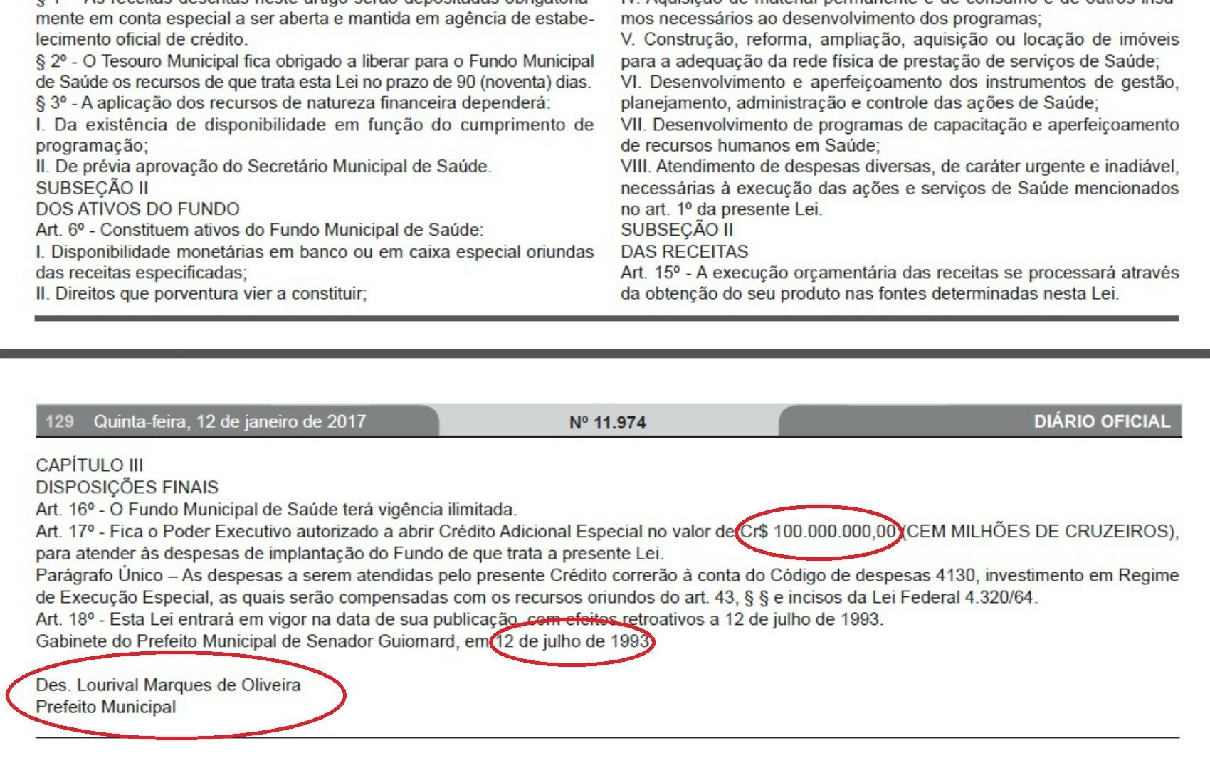 Lei de 1993 assinada por prefeito que morreu em 2013 foi publicada na edição desta quinta (12) do DOE (Foto: Reprodução/DOE)
