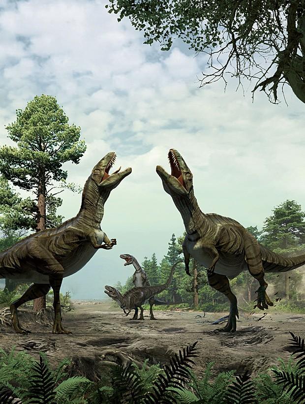 Ilustração mostra como pode ter sido o ritual de acasalamento dos dinossauros terópodes (Foto: Xing Lida/Yujiang Han)