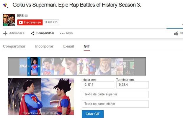 Painel de criação de GIFs do YouTube, e já está disponível em alguns canais da plataforma. (Foto: Reprodução/YouTube.com)