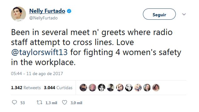 Nelly Furtado no Twitter (Foto: Reprodução)