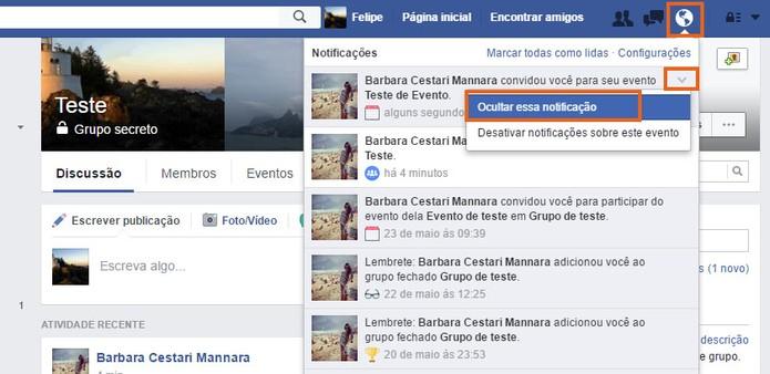 Oculte a notificação do evento privado no Facebook (Foto: Reprodução/Barbara Mannara)