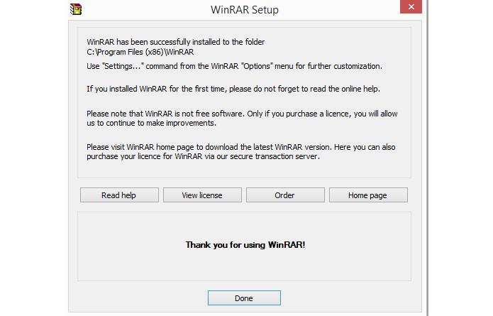 Tela possui atalhos para informações úteis sobre o WinRAR (Foto: Reprodução/WinRAR)
