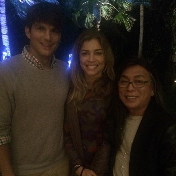 Ashton Kutcher, Grazi Massafera e Celso Kamura (Foto: Reprodução do Instagram)
