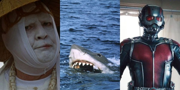 A Ilha do Dr. Moreau (1996), Tubarão (1975) e Homem-Formiga (2015) (Foto: Divulgação)
