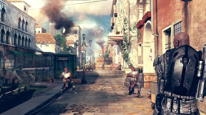 Modo campanha de Modern Combat 5: Blackout começa com tiroteios em Veneza (Foto: Divulgação)