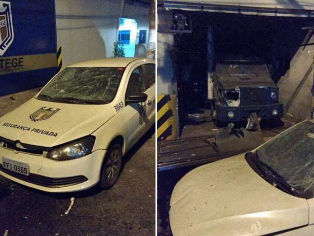 Carro da Protege foi atigido por tiroteio (Foto: Paulo Matias/VC no G1)