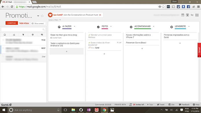 Sortd transforma Gmail em uma lista de tarefas similar ao Trello (Foto: Reprodução/Elson de Souza)