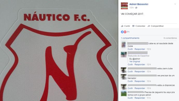 Foto no perfil pessoal do presidente do Náutico-RR é alvo de pedidos de emprego no clube (Foto: Reprodução/Facebook)