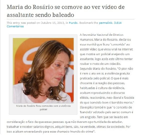 Texto fictício sobre Maria do Rosário publicado no blog assinado por Joselito Muller (Foto: Reprodução/internet)