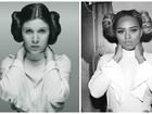 Erika Canela homenageia Carrie Fisher vestida de Princesa Leia
