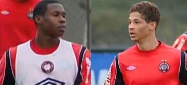 Zagueiro Jamerson e o meia-esquerda Wallace no Atlético-PR (Foto: Reprodução/RPC TV)
