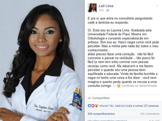 Laynna Marina, de 25 anos, desabafa na internet (Foto: Reprodução/Facebook)