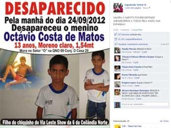 Facebook ajuda família a encontrar menino sequestrado em Ceilândia (Foto: Reprodução)