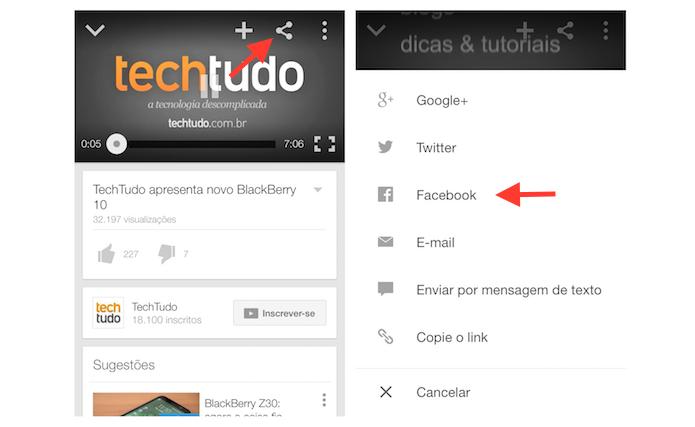 Iniciando o compartilhamento de um vídeo do YouTube com o Facebook através  de um dispositivo Android 7bebe376de47
