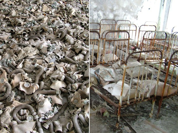 Máscaras e hospital abandonados em Chernobyl (Foto: Lupine Travel/Divulgação)