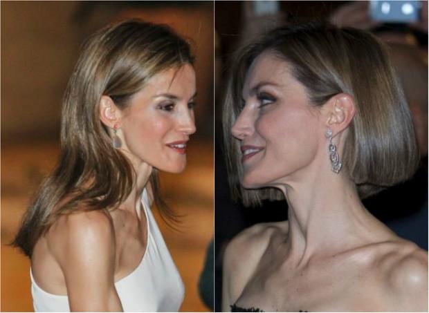 Antes e depois: Rainha Letizia, da Espanha, aparece com os cabelos mais curtos (Foto: Getty Image)