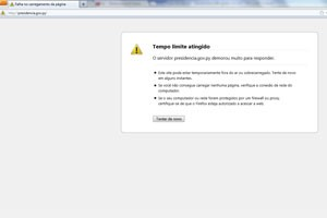 Site da presidência do Paraguai fora do ar por volta das 14h30 (Foto: Reprodução)